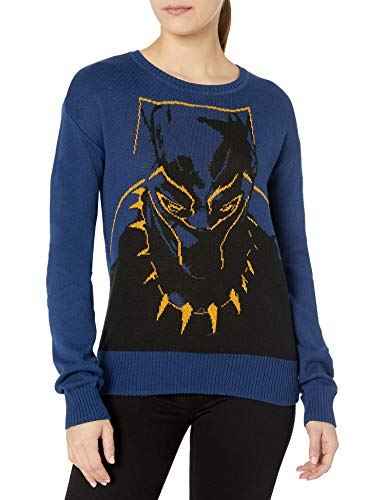 Marvel Women's Ugly Christmas Sweater, Black Panther/Navy, Small