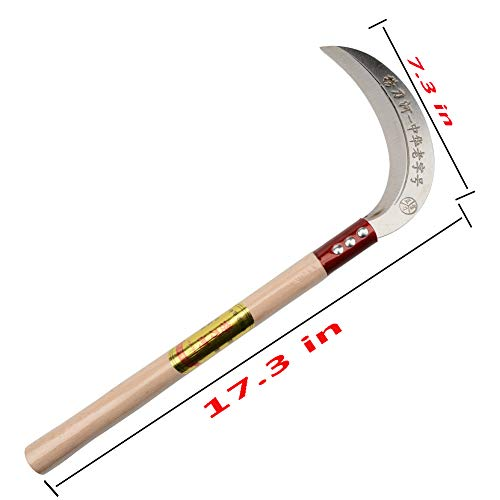KEYI Steel Grass Sickle,Clearing Sickle,Manganese Steel Blade/Hardwood Handle Hand held Sickle Tool - Multipurpose Gardening Weeding Grass Sickle and Farming Portable Safety Sickle
