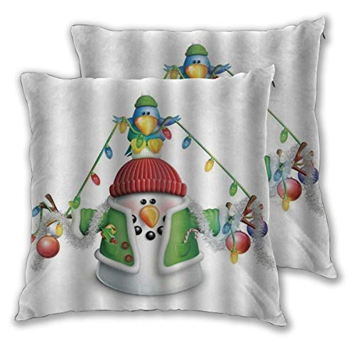 KASABULL Throw Pillow Covers Set of 2 Snowman Cartoon Whimsical Character With Christmas Garland Blue Bird Various Xmas Elements Multicolor Duty Cute Cushion Cover without Pillow 60cm x 60cm