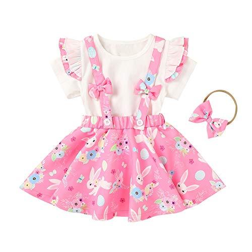 Neugeborene Säugling Baby Mädchen Ostern Princess Kleider Kleidung Outfit Set 3 Stück Osterhase Cartoon Kinder Kleider Ostereier Oberteil T Shirt + Hosenträger Rock + Bogenstirnband für 18M-6 Jahre