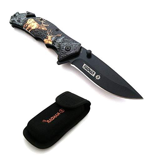 KS-11 schwarzes Messer schwarz 21cm Campingmesser Waidmannsheil Liner-Lock Klappmesser mit Hirschmotiven - Jagd - Outdoor - Survival - Angel - Camping Messer mit Tasche