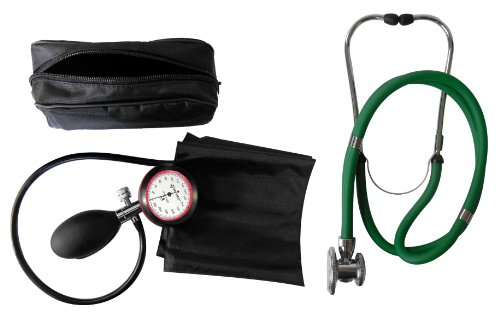 Blutdruckmessgerät 1-Schlauch Oberarm + Rappaport Doppelschlauch Stethoskop grün Doppelkopf Tiga-Med Qualität