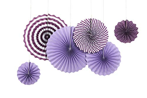 SUNBEAUTY 6er Set Papierfächer Lila Rosetten Fächer Dekoration für Party Feier Geburtstag 21cm 31cm 42cm (Violett)