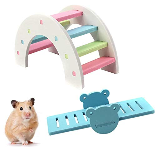 kathson DIY Hamster Rainbow Play Bridge Seesaw Rat Exercise Natural Funny Hamster Nest Toy for Syrian/robo/Mouse/Djungarian/Dwarf Hamster Mic and Small Animal