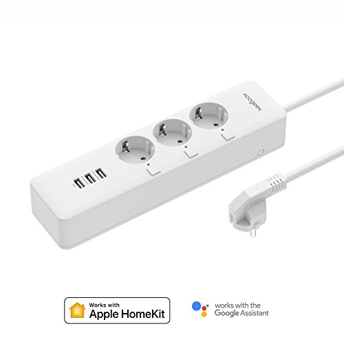 Koogeek Regleta Inteligente, Enchufe Múltiple Wifi USB, Apple HomeKit/Alexa/Google Home, Control Remoto, con 3 Tomas 3 USB, APP Temporizador para Android y IOS 2.4Ghz WIFI, Monitor de Energía