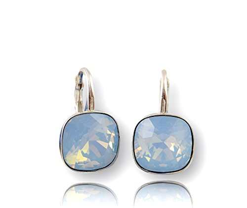Crystals & Stones *Viele Farben* Silber 925 *SQUARE* - Ohrringe mit Kristallen von Swarovski® - Schön Ohrringe Damen Ohrhänger - Wunderbare Ohrringe mit Schmuckbox (Air Blue Opal)
