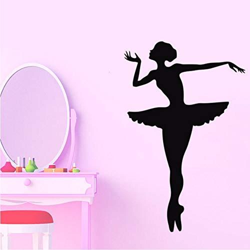 LLLYZZ ballerina balletmuurtattoo danseres gymnastiek dansstudio vinyl muursticker voor kinderkamer meisjes muurdecoratie poster 56 * 89 cm
