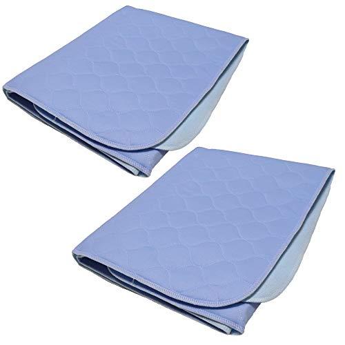 TODA 2er Pack Matratzenauflage, Inkontinenzauflage, Blau, wasserdicht, waschbar - Saugvlies, Inkontinenzunterlage, ca 75x90cm