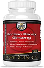 Certified Organic 2000mg Korean Red Panax Ginseng 120 Vegan Capsules Super Strength Extract Powder Supplement - High Ginsenosides Supports Energy, Stamina, Performance and Mental Health
