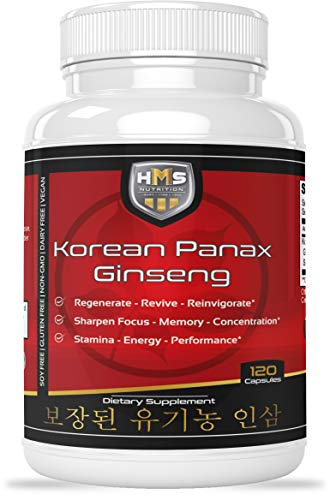Certified Organic 2000mg Korean Red Panax Ginseng 120 Vegan Capsules...