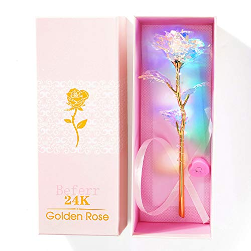 Beferr 24K Colorful Luminous Rose Artificial LED Light Flower Unique Gifts Mothers Day Thanksgiving Valentines Day Girls Birthday Party, Best Gifts for Wife Girl Friend Women