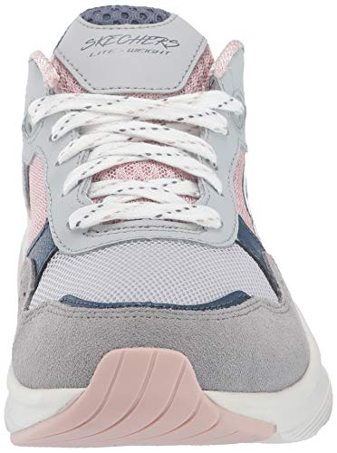 Skechers Meridian-Charted, Zapatillas, Multicolor (GYPK Gray & Navy Leather/Pink Mesh/Off White Trim), 36 EU