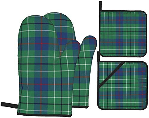 Small Duncan Tartan 4PCS Oven Mitts and Pot Holders Kitchen Heat Resistant Gloves and Non-Slip Hot Pads for BBQ Cooking Baking Hand Protection