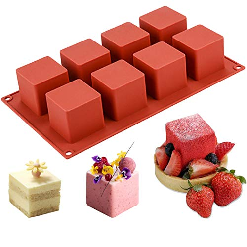 JOERSH 3D Square Silicone Mold | 2' x 2' x 2' Square Mousse Cake Baking Mold Dessert Molds for Cheesecake/Jelly/Brownie/Soap/Candle (8-Cavity)