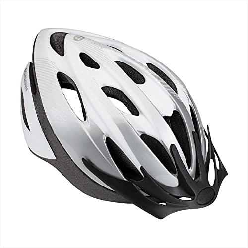 Product Image of the Schwinn Thrasher Bike Helmet, Lightweight Microshell Design, Adult, White/Silver