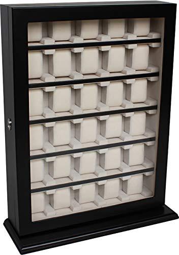 Uhrenbox Woolux schwarz für die Wand für 30 große Uhren bis 60 mm Sichtfenster
