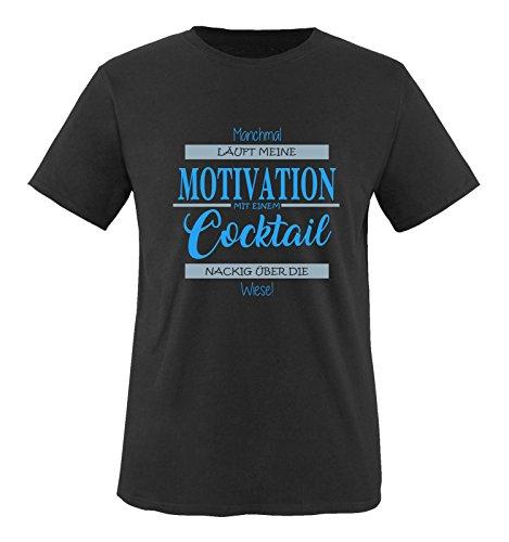Comedy Shirts - Manchmal läuft Meine Motivation mit einem Cocktail nackig über die Wiese - Herren T-Shirt - Schwarz/Blau-Eisblau Gr. XXL