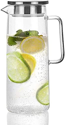 Sharemee 1.2 litros Jarra de Vidrio con Tapa Jarra de té Helado Jarra de Agua Agua fría Caliente té Helado café Vino Leche y Jarra de Bebidas de Jugo