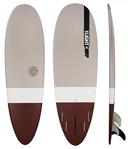 Light Minilog Bown Epoxy-US+Future Surfboard, Brown/White/Grey, 6'0