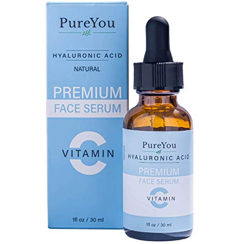 Natural Vitamin C Serum for Face/Neck/Eye - with Hyaluronic Acid, Ferulic Acid, Witch Hazel - Premium Anti Aging & Anti Wrinkle Serum with Antioxidant Benefits