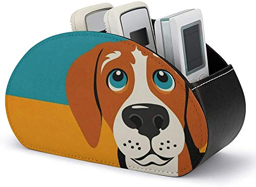 Leather Remote Control Holder - PU Leather Remote Control Holder Organizer,Beagle Dog Media Accessory Storage & Organizer with 5 Spacious Compartments for DVD/Blu-Ray/Media Player/Heater Controllers