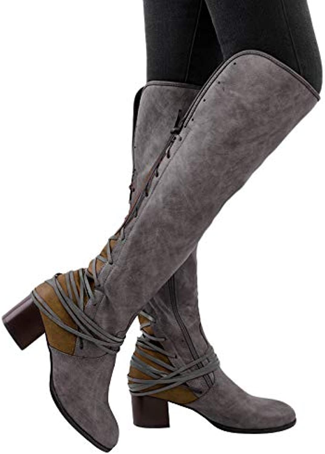 8d9b248053 VANDIMI Wide Calf Knee High Boots for Women Winter Fashion Low Block Heel  shoes Over The