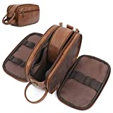 Toiletry Bag for Men, Large Capacity Travel Shaving Dopp Kit All In One Bathroom Toiletries Organizer Leather Cosmetic Bag (Brown)