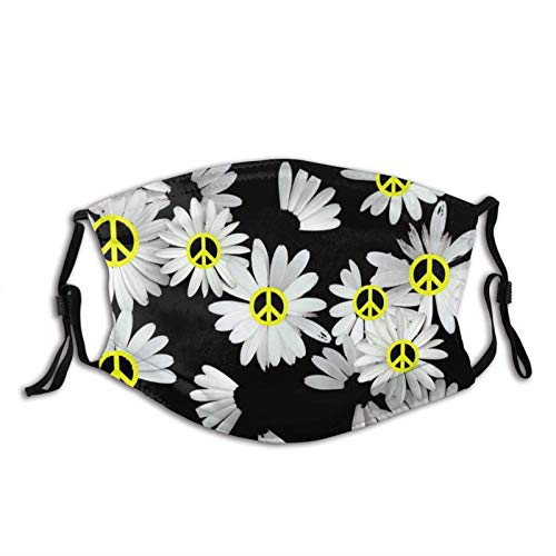 White Daisies with Yellow Peace Signs Face Mask Unisex Reusable Washable Anti-Dust Windproof Face Cover for Outdoors
