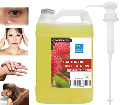 Rizinusöl - 100{0fb7269466936dbfd8107c46c66f0a260bd0031295c37d80859554bbaed5a131} reines Öl – 1000 ml kaltgepresstes Hautpflege Haare Bart Nägel Körper