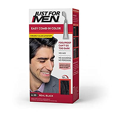 Just For Men Easy Comb-In Color (Formerly Autostop), Gray Hair Coloring for Men with Comb Applicator Included, Easy No…
