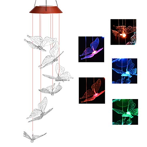 IMAGE Solar Butterfly Wind Chimes Color Changing Butterfly Wind Chimes Mobile LED Wind Chimes Gift for Home Garden Patio Yard Lawn Decor(Butterfly)