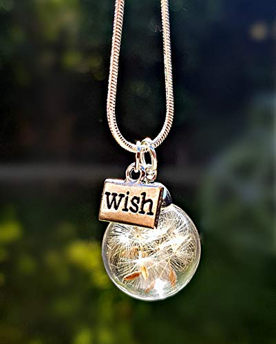 Dandelion Wish Necklace Sterling Silver Chain with Charm and Gift Box...