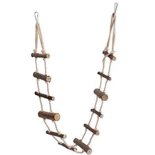 Fdit Vogelleiter Spielzeug Hamster Treppen Holz Flexible Hängebrücke Kletterschaukel für Papagei Wellensittich Sittich Nymphensittich African Grey Hamster Eichhörnchen
