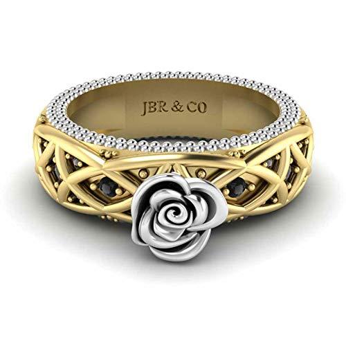 Jbr - Anillo de compromiso con diseño de cuerda trenzada en plata de ley con diamantes de imitación de circonita cúbica