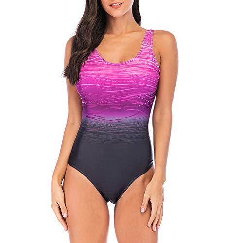 Overdose Farbverlauf Farbe Damen Übergröße Bikinis Tankini Einteiliger Badeanzug Beachwear gepolsterte Bademode Frauen Plus Size Beachwear Badeanzüge(Violett,L)