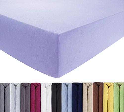 ENTSPANNO Jersey Spannbettlaken für Wasser- und Boxspringbett in Flieder aus Baumwolle. Spannbetttuch mit Einlaufschutz, 180 x 200 | 200 x 200 | 200 x 220 cm, bis 40 cm hohe Matratzen