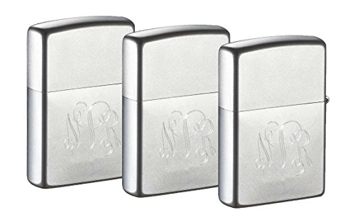 Personalized Set of 3 Zippo Lighters with Free Engraving in Interlocking Monogram Font