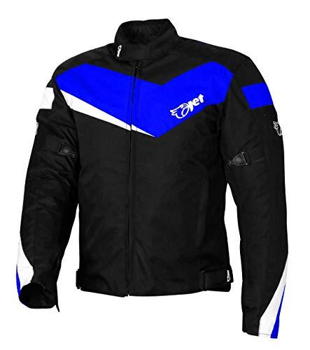 JET Chaqueta Moto Ciclomotor Hombre Textil con Protecciones Ligero Basic ECONOTECH (S (EU 46-48), Azul)