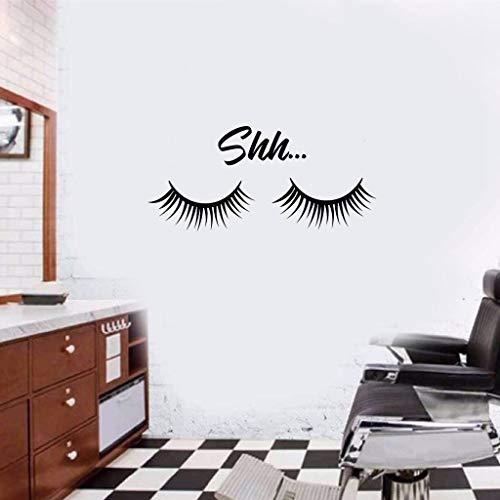 decoración de peluquería Shh Eyelashes Beautiful Design Decal Sticker Wall Vinyl Decor Art Eyebrows Make Up Cosmetics Beauty Salon Mua Lashes