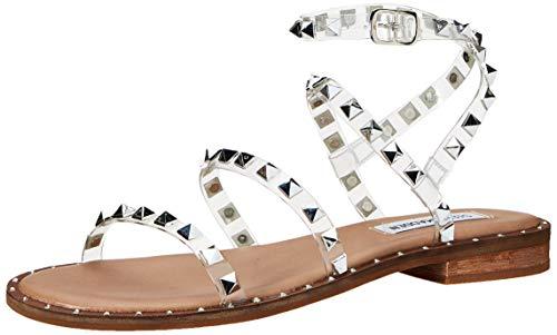 Steve Madden Women's Travel Flat Sandal, Clear, 8.5
