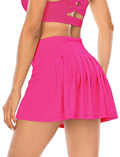 Women's Pleated Tennis Skirts Athletic Golf Skorts Activewear with Pockets Shorts Running Sport Workout Skirt (Hot Pink, XX-Large)