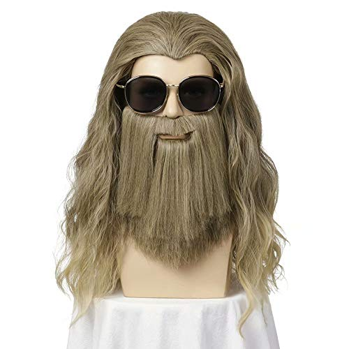 Luminous1128 Thor Perücke, Thor lange lockige goldene braune Haare und Bart, lange blonde Perücke, Thor Perücke, Männer Halloween Cosplay Haar Perücken