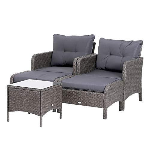 Outsunny 5-TLG. Polyrattan Gartenmöbel Sitzgruppe Gartenset Sofagarnitur Garnitur Lounge mit Kissen Dunkelgrau 2 x Sessel 1 x Couchtisch 2 x Hocker