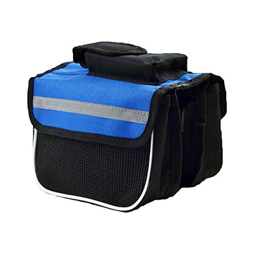 Demarkt fietstas fiets frametas bovenbuiszak dubbele zak mobiele telefoon tas voor mountainbike blauw