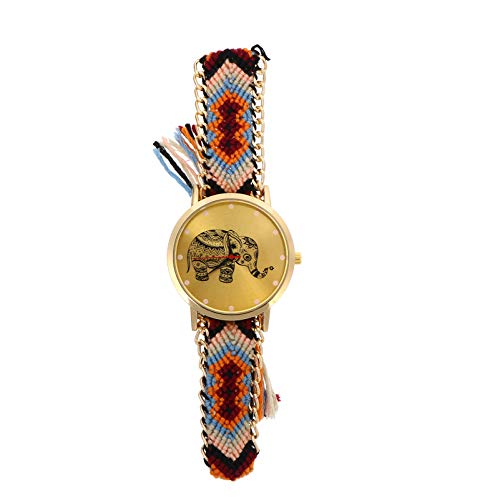 ibasenice Women Wrist Watch Ethnic Style Hand Braided Elephant Handmade Bracelet Quartz Casual Watch with Weaved Rope Band for Women Ladies Lovers Girlfriend