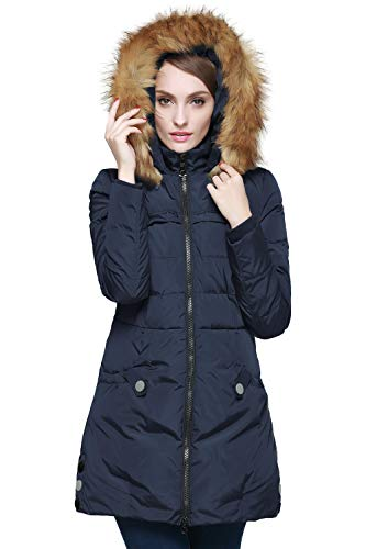 Orolay Women's Down Jacket with Faux Fur Trim Hood (M, Navy)