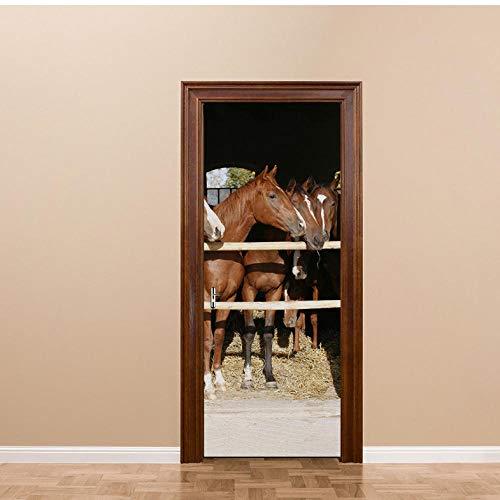 3D Pferdestall Tür Bild Wandaufkleber Tür Aufkleber Tapete Abziehbilder Dekoration