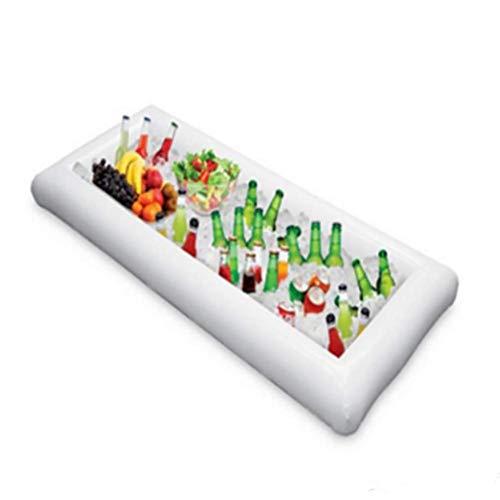 SHARESUN Witte trog water opblaasbare drijvende ijsbalk, drijvende rij fruit salade frisdrank bier ijsbak, zwembad partij zwevende lucht kussen beker houder