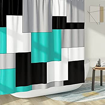 DESIHOM Turquoise and Grey Modern Shower Curtain Mid Century Shower Curtain Geometric Gray Abstract Polyester Waterproof Shower Curtain 72X72 Inch