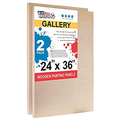 """U.S. Art Supply 24"""" x 36"""" Birch Wood Paint Pouring Panel Boards, Gallery 1-1/2"""" Deep Cradle (Pack of 2) - Artist Depth Wooden Wall Canvases - Painting Mixed-Media Craft, Acrylic, Oil, Encaustic"""